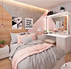 Pink, white and grey girls bedroom; pastel bedroom decor ins Room Ideas Bedroom, Bedroom Themes, Bedroom Girls, Bedroom Colors, Bedroom Bed, Teenage Bedrooms, Budget Bedroom, Bedroom Small, Room Decor Teenage Girl
