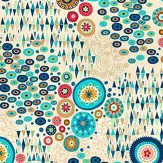 Stoff Ornamente - Makower UK Aura in Multi - ein Designerstück von DinoFabric bei DaWanda