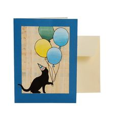 Cat Birthday Card - Blue Skies - Collections from Ten Thousand Villages // fair trade greeting card, hand painted, perfect for the cat lady in your life! First Birthday Cards, Birthday Games, Cat Birthday, Funny Birthday Cards, Handmade Birthday Cards, Birthday Card Pictures, Birthday Painting, Cat Cards, Cardmaking