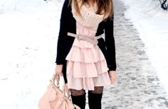 coat, dress with thigh high socks! ah!