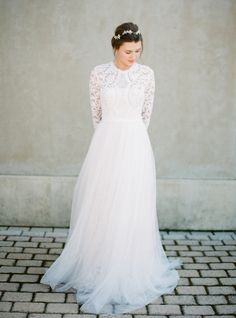 Stylish long sleeved wedding dress