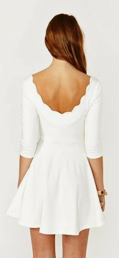 Cute white scalloped skater dress fashion