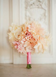 Wedding bouquet of pink, peach, and ivory dahlias by Kathleen Hyppolite of Kat Flower. Image by Elizabeth Messina. **dahlias have to be one of my favorite flowers! Dahlia Bouquet, Peach Bouquet, Freesia Bouquet, Floral Wedding, Wedding Flowers, Ribbon Wedding, Yellow Wedding, Wedding Bells, Delphine Manivet