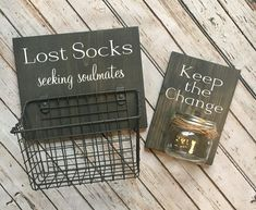 Laundry Room Sign Combo & Keep the Change AND Lost Socks & Seeking Soulmates (or Solemates) & wood sign with attached glass jar coin holder The post Laundry Room Sign Combo Laundry Room Remodel, Laundry Room Signs, Laundry Room Organization, Laundry In Bathroom, Laundry Decor, Laundry Room Decorations, Small Laundry, Laundry Room Baskets, Laundry Room Colors