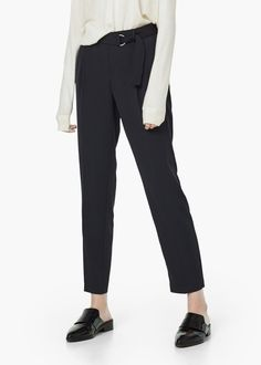 Belt straight-fit trousers - Trousers for Women | MANGO