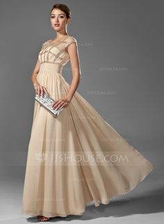 Vestidos princesa/ Formato A Decote redondo Chá comprimento De chiffon Vestido de baile com Pregueado Bordado (018005069)