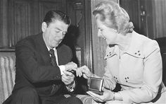 The first meeting between Ronald Reagan and Margaret Thatcher in April 1975. The rapport was instant. Photo: PA