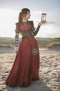 """Купить Средневековый костюм: верхнее платье, рубашка и корсет """"Дочь алхимика"""" - бордовый, средневековое платье"""