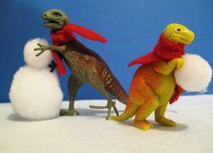 Christmas Crafts : Illustration Description Dinosaur Christmas (fuzzballs for the snowballs) Dinosaur Christmas Ornament, Christmas Ornaments, Dinosaur Christmas Decorations, Xmas Decorations, Christmas Humor, Christmas Holidays, Christmas Stuff, Merry Christmas, Holiday Crafts