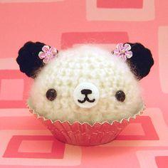 Amigurumi Cherry Blossom Panda Cupcake Bear...this is just too sweet!