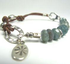 LOVE!!!!!! Kyanite Leather Hill Tribe Fine Silver Bracelet by LilikoiDesigner