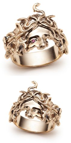 The Medusa rings by Sofia Zakia. Handmade in yellow gold with or without a ruby. The Medusa rings by Sofia Zakia. Handmade in yellow gold with or without a ruby. Cute Jewelry, Jewelry Box, Jewelry Accessories, Fashion Accessories, Fashion Jewelry, Jewelry Design, Unique Jewelry, Jewlery, Fashion Ring