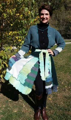 Recycled Sweater Coat with Matching Scarf by WearableArtbyDenise