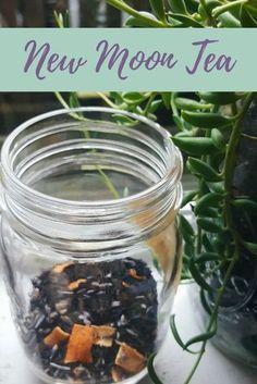New Moon Tea Blend Recipe The Witch of Lupine Hollow Herbal Tea herbal tea recipes Weight Loss Tea, Homemade Tea, Kitchen Witchery, Tea Benefits, Liqueur, New Energy, Tea Blends, New Moon, Tea Recipes