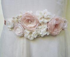 Romance Bridal Belt Wedding Sash Belt by GingiBeads on Etsy Wedding Sash Belt, Diy Wedding Dress, Wedding Belts, Bridal Sash, Wedding Jewelry, Satin Flowers, Fabric Flowers, Black Wedding Themes, Wedding Ideas