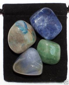 BLOOD PRESSURE CONTROL Tumbled Crystal Healing Set - 4 Gemstones w/Description & Pouch - Aventurine, Chalcedony, Chrysocolla, and Sodalite