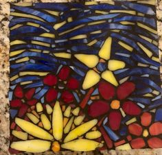 Fireworks in a field of flowers mosaic Unicorn Glass, Fire Works, Black Wood, Summer Nights, Beautiful Flowers, How To Look Better, Mosaic, Original Art, Just For You