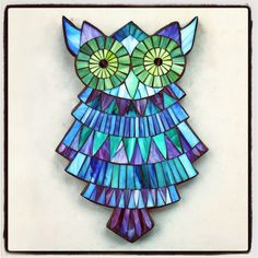 """Ballerina Owl, stained glass mosaic, 14.5""""x10"""", 2014 by Kasia Polkowska Visit Kasia Mosaics on Facebook: www.facebook.com/... Sign up for one of Kasia's weekend workshops via www.kasiamosaics.com"""