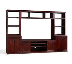 Logan Open Hutch Large Media Suite with Bridge, Mahogany stain
