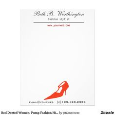 Red Dotted Women  Pump Fashion High  Heels shoe custom Designer Letterhead. Cute modern letterhead for your fashion business.