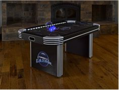 Triumph Lumen-X Lazer Interactive Air Hockey Table Featuring All-Rail LED Lighting and In-Game Music Fast And Furious Game, Air Hockey Games, Interactive Table, Mini Arcade, Let The Fun Begin, Plastic Tables, Table Sizes, Poker Table, Wood And Metal