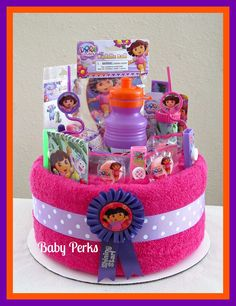 Birthday Towel Cake Birthday Gift Party Decoration by MsPerks