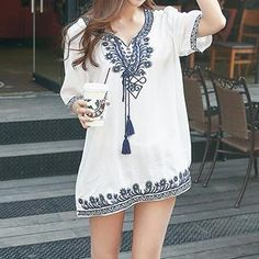 Envy Look - Embroidered Tunic Fashion Celebration! Up to 90% off SALE at www.yesstyle.com + Free Worldwide Shipping #yesstyle #fashion