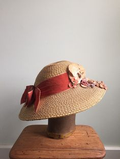 1930s Straw Hat / Velvet Flowers & Bow by WestwoodandCo on Etsy