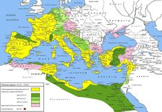 Extent of the Roman Empire under Augustus. The yellow legend represents the extent of the Republic in 31 BC, the shades of green represent gradually conquered territories under the reign of Augustus, and pink areas on the map represent client states; however, areas under Roman control shown here were subject to change even during Augustus' reign, especially in Germania.
