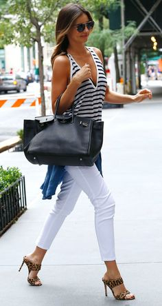 stripe + white skinnies + leopard heel