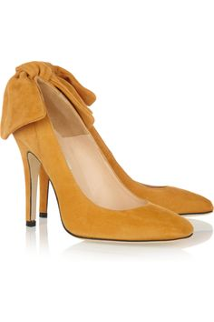 Carven Bow-Embellished Suede Pumps (NET-A-PORTER.COM, $685.00) - saffron yellow, bright, classy, whimsical.