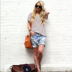 Red and white stripe shirt Soft red and white stripe t shirt. So comfy and perfect for everyday. Boutique Tops