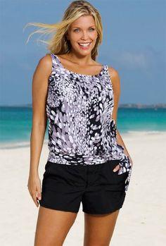 d1bd1264ef Beach Belle Dew Drops Plus Size Blouson Cargo Shortini Plus Size Swimwear –  Black White