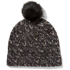 Rag & bone - Scarlett Shearling-trimmed Knitted Beanie ($88) ❤ liked on Polyvore featuring accessories, hats, black, pompom hat, slouch beanie, pom pom beanie hat, rag bone hat and slouch beanie hats