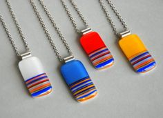 Summer Stripes Fused Glass Pendant Artisan Handmade Glass YOUR COLOR on Etsy, $26.00
