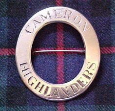 The Queens Own Cameron Highlanders Pipers plaid brooch. Pre 1881 piper's plaid brooch.