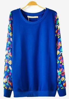 Blue Flowers Print Long Sleeve Sweatshirt