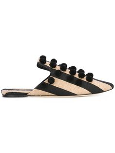 SANAYI 313 striped pom-pom mules. #sanayi313 #shoes #sandals