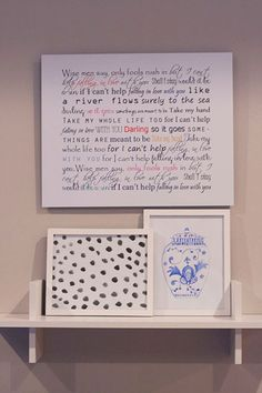 Print out your wedding song or song you walked down the isle to with creative fonts on canvas for a great piece of artwork for your house! What a great idea!!!