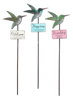 "Sunset Vista Designs Enchanted Garden Collection Hummingbird Plant Pick, Set of 3 by Sunset Vista Designs. $25.99. One says Happiness is a home blessed with family and friends. One says Friendship If friends were flowers, I'd pick you. Three different metal plant picks each one decorated with a hummingbird. One says Welcome Love, Laughter and Friends always welcome. Each pick is 18"" long x 5.25"" wide. Set of three hummingbird plant picks to decorate your home or yard. Each one ..."
