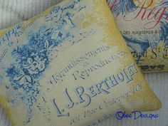 Vintage Style Country French Label PILLOW with Blue by Obeedesigns, $32.00