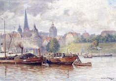 Eduard Krause-Wichmann ( Stettin-Poelitz 1864) Blick uber die Oder auf die Altstadt von Stettin,