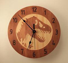 Pine T-Rex clock Dinosaur clock Wood clock by BunBunWoodworking