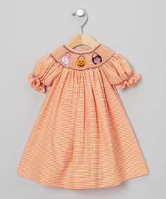 Take a look at this Orange & White Gingham Halloween Bishop Dress - Infant & Toddler by Classy Couture on #zulily today!