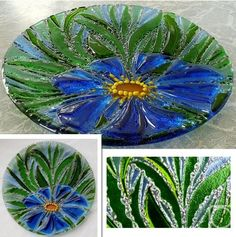 "Repina Elena. Glass dish for the holiday table, ""Morning dream"" fusing"