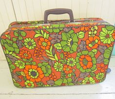 1960's Flower Power Canvas Small Suitcase Overnight by Bingville, $28.00