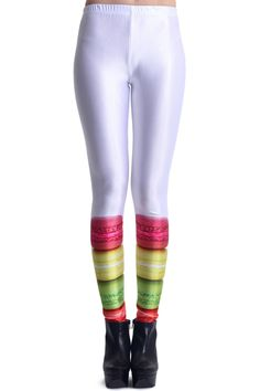 Macaron Print White Leggings. Description These Leggings have been crafted from elastic fabric design, featuring macaron print design, a stretchy waist and all in a soft-touch stretch finish. Fabric Dacron and Spandex. Washing 40 degree machine wash , low iron. #Romwe