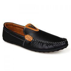 Trendy Metallic and Stitching Design Men's Loafers, BLACK, Men's Shoes | DressLily.com