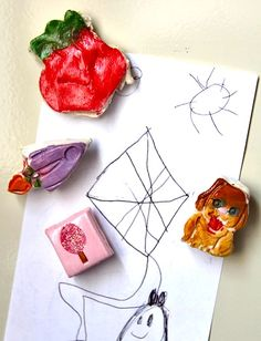 clay magnets, kids to make