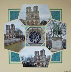 Aujourd'hui, direction Paris avec cette page sur Notre Dame. Gabarit Diamond de Léa France et papier embossé.
